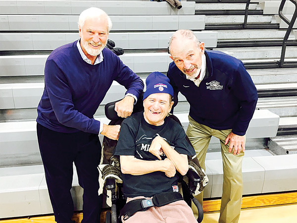 L to R - Roger Ralph, Butch Varno and Middlebury Basketball Coach, Russ Reilly at Game in 2016