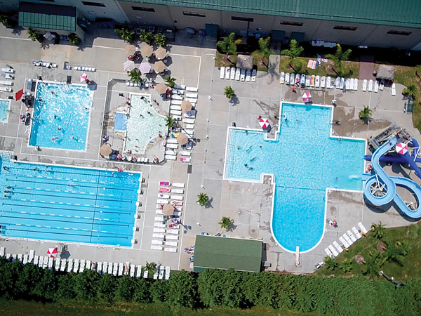 Aerial View of The Arena Club's Aquatics Complex