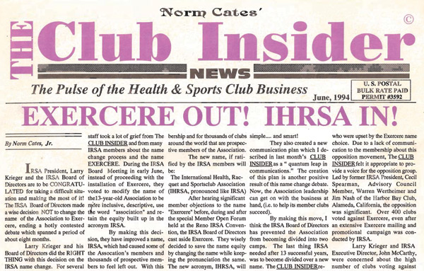 June 1994 - Exercere Out! IHRSA In!