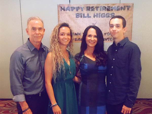 (L to R) Bill Higgs, Daughter Jenna, Wife Linda and Son Bradley at Bill's Retirement Party, August 9, 2017