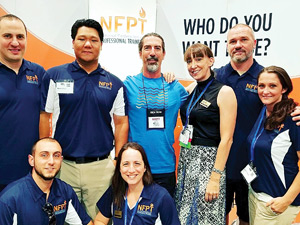 Back Row (L to R) - The NFPT Expo Cast, Crew and Friends: Charles DeFrancesco, Kevin Chen, Brett Kehler, Angie Pattengale, Billie Pattengale, April Pattee. Front Row: Steve Sarno and Beverly Hosford