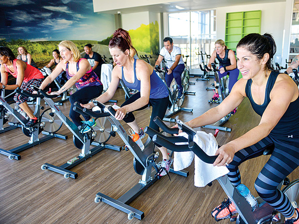 Group Cycling at In-Shape Health Clubs